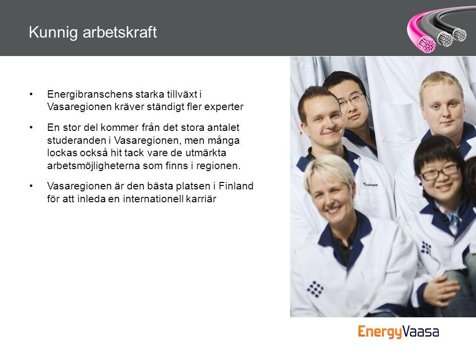 Kunnig arbetskraft Energibranschens starka tillväxt i Vasaregionen kräver ständigt fler experter.