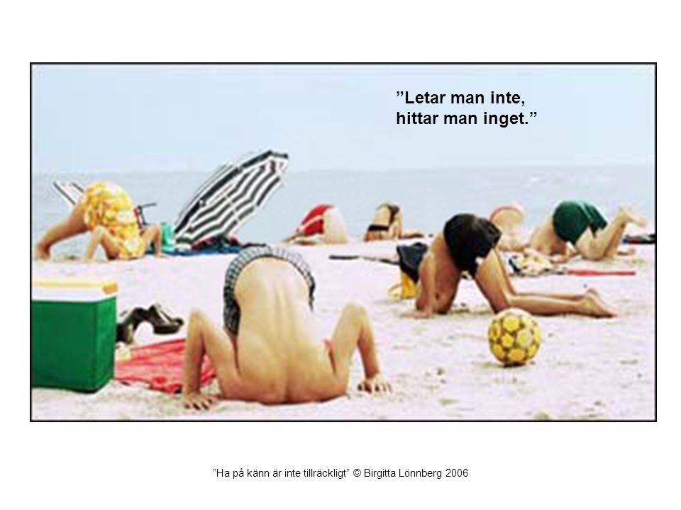 Ha på känn är inte tillräckligt © Birgitta Lönnberg 2006