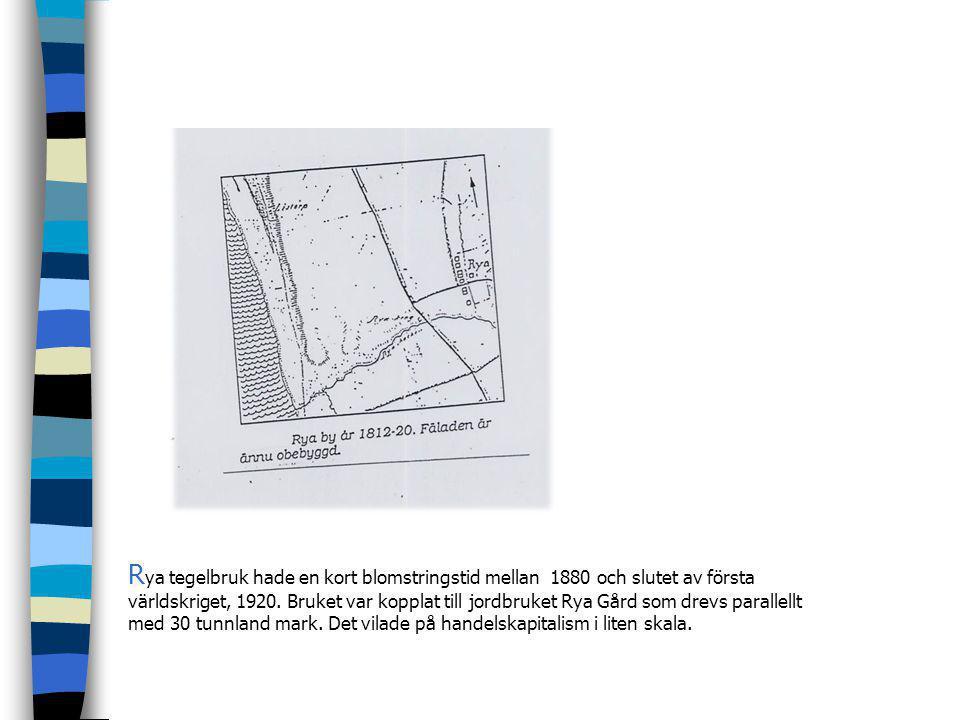 Rya tegelbruk hade en kort blomstringstid mellan 1880 och slutet av första