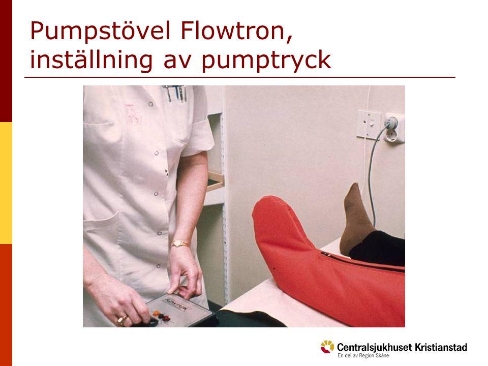 Pumpstövel Flowtron, inställning av pumptryck