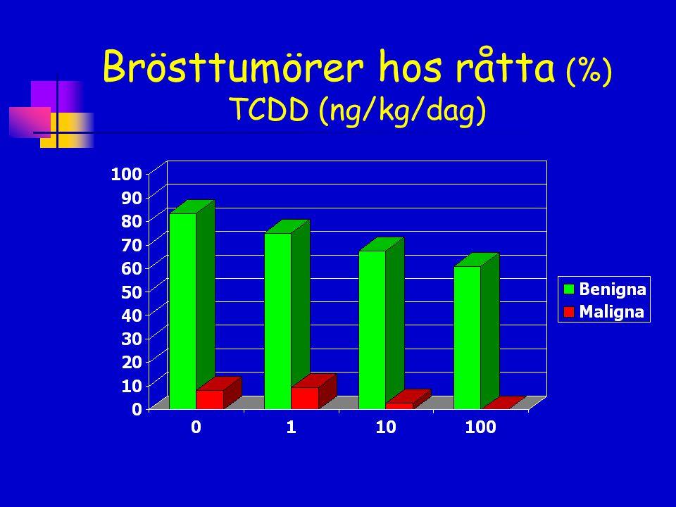 Brösttumörer hos råtta (%) TCDD (ng/kg/dag)