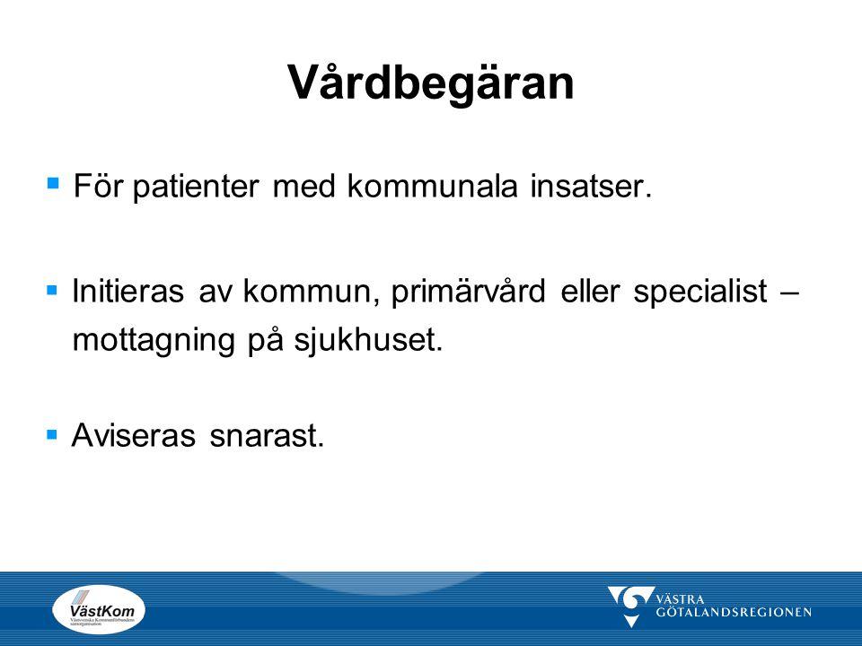 Vårdbegäran För patienter med kommunala insatser.