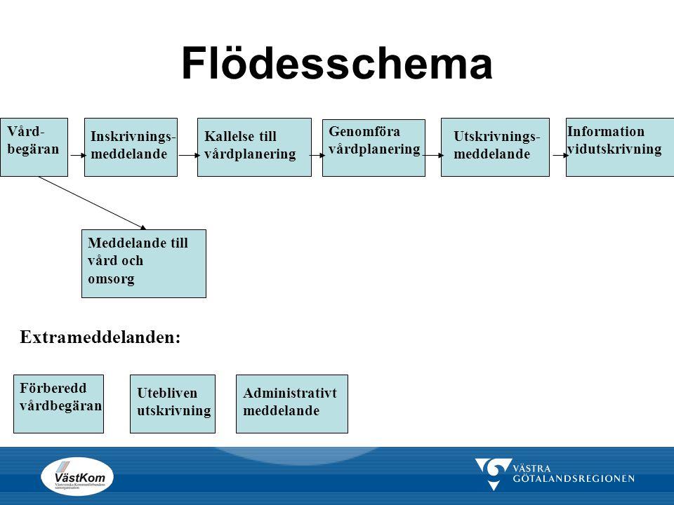 Flödesschema Extrameddelanden: Vård-begäran Inskrivnings-meddelande