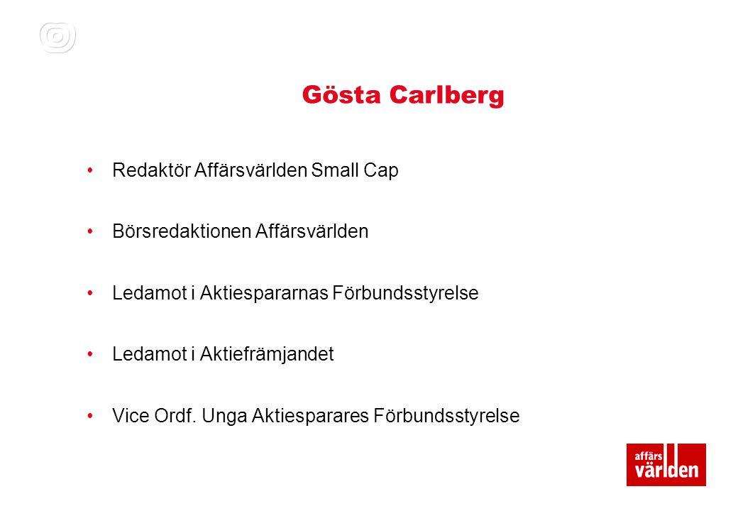 Gösta Carlberg Redaktör Affärsvärlden Small Cap