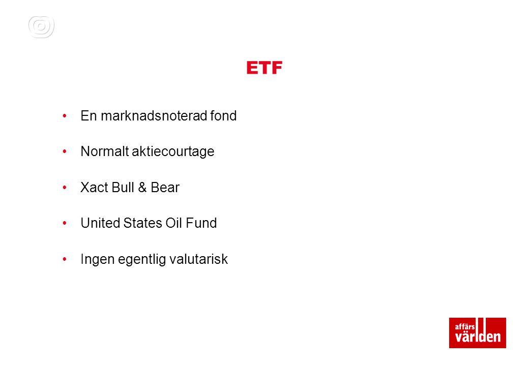 ETF En marknadsnoterad fond Normalt aktiecourtage Xact Bull & Bear