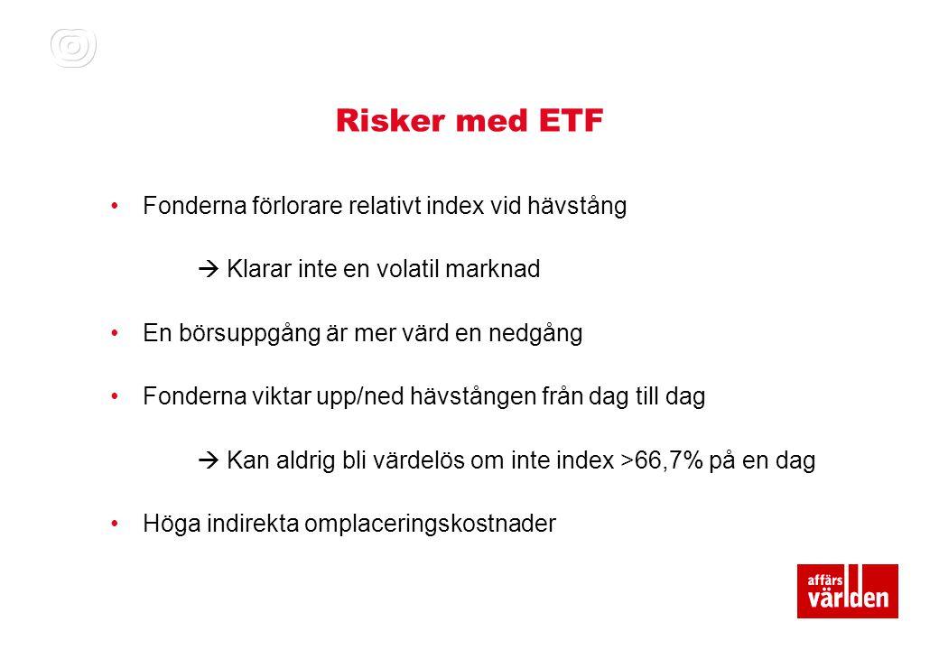 Risker med ETF Fonderna förlorare relativt index vid hävstång