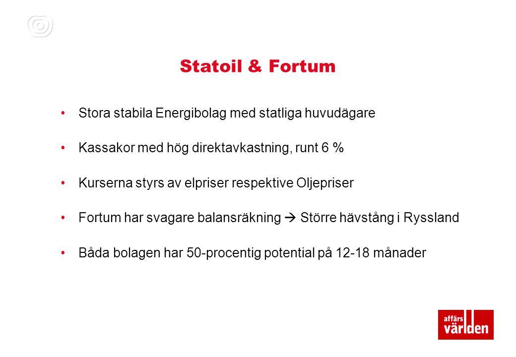 Statoil & Fortum Stora stabila Energibolag med statliga huvudägare
