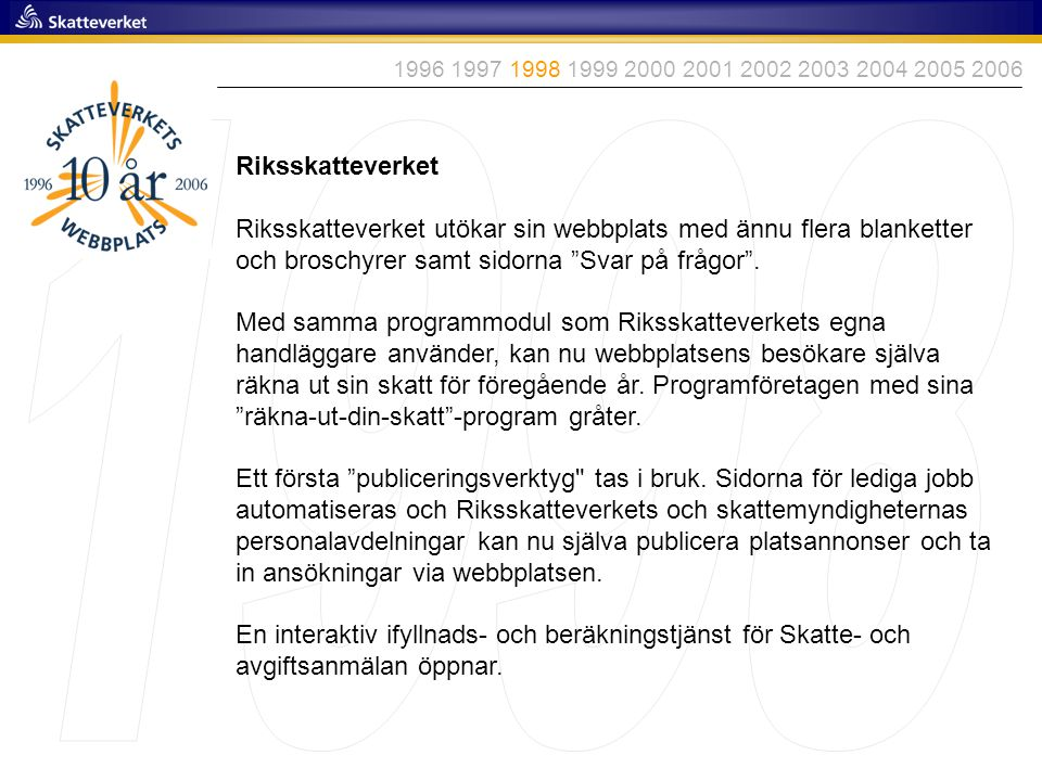 1996 1997 1998 1999 2000 2001 2002 2003 2004 2005 2006 1998. Riksskatteverket.