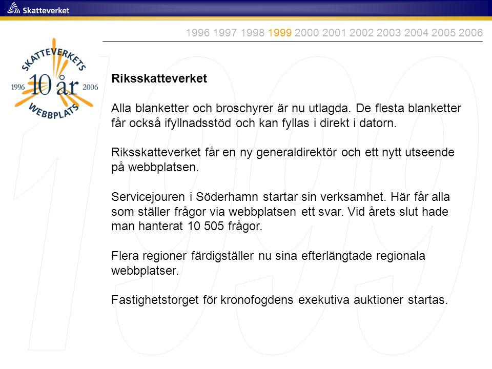 1996 1997 1998 1999 2000 2001 2002 2003 2004 2005 2006 1999. Riksskatteverket.