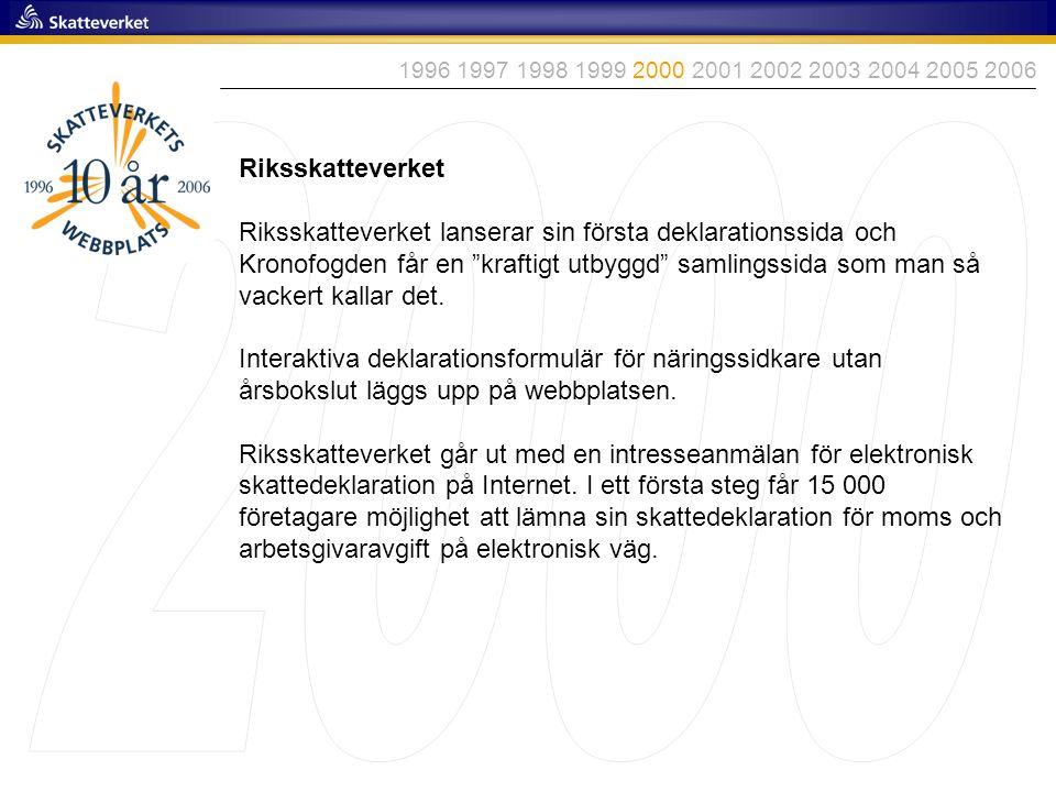 1996 1997 1998 1999 2000 2001 2002 2003 2004 2005 2006 2000. Riksskatteverket.