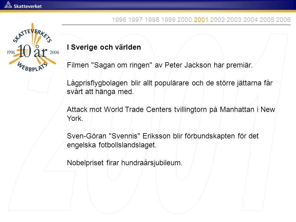 1996 1997 1998 1999 2000 2001 2002 2003 2004 2005 2006 2001. I Sverige och världen. Filmen Sagan om ringen av Peter Jackson har premiär.