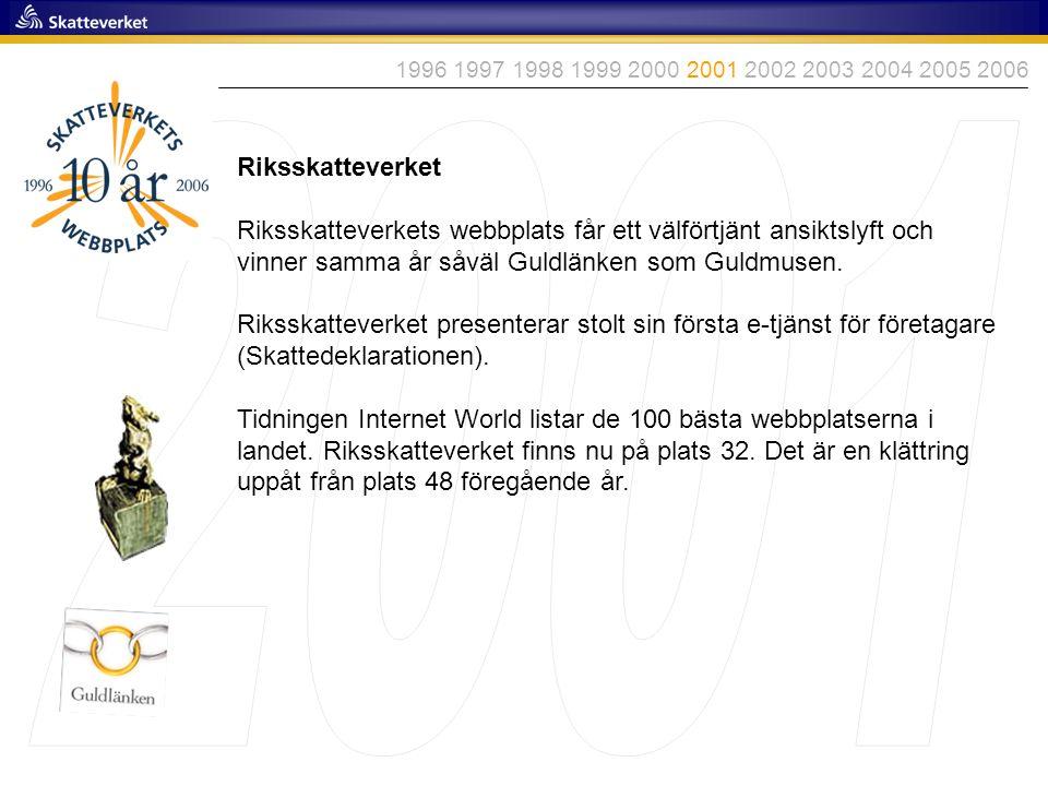 1996 1997 1998 1999 2000 2001 2002 2003 2004 2005 2006 2001. Riksskatteverket.