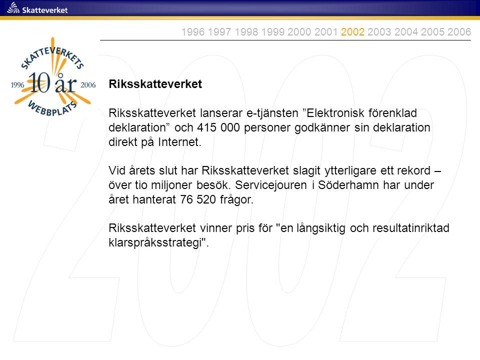 1996 1997 1998 1999 2000 2001 2002 2003 2004 2005 2006 2002. Riksskatteverket.