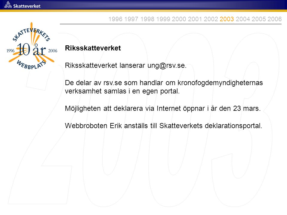 2003 Riksskatteverket Riksskatteverket lanserar ung@rsv.se.