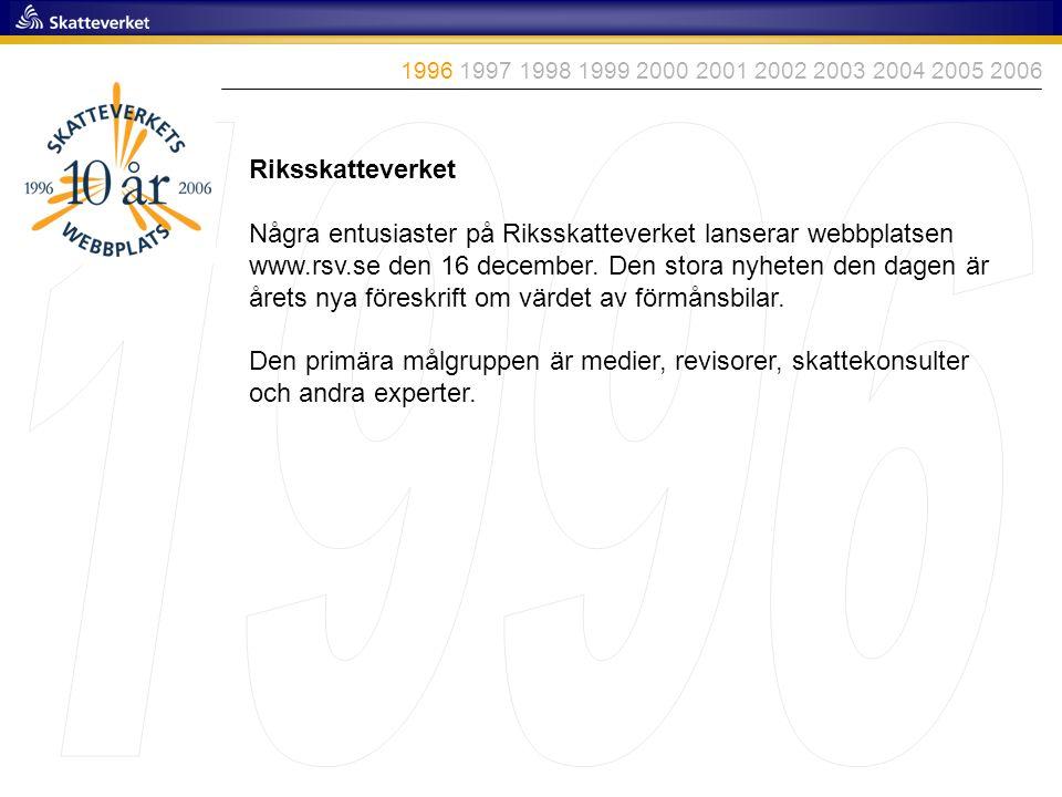 1996 1997 1998 1999 2000 2001 2002 2003 2004 2005 2006 1996. Riksskatteverket.