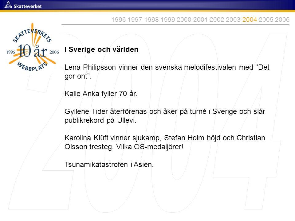 1996 1997 1998 1999 2000 2001 2002 2003 2004 2005 2006 2004. I Sverige och världen.