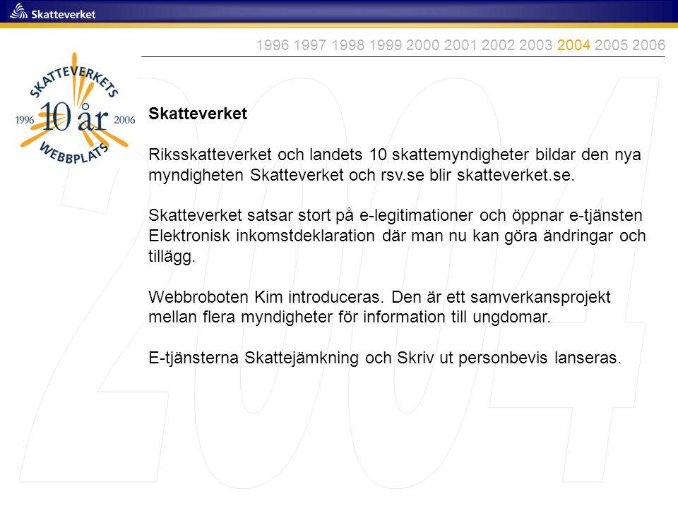 1996 1997 1998 1999 2000 2001 2002 2003 2004 2005 2006 2004. Skatteverket.