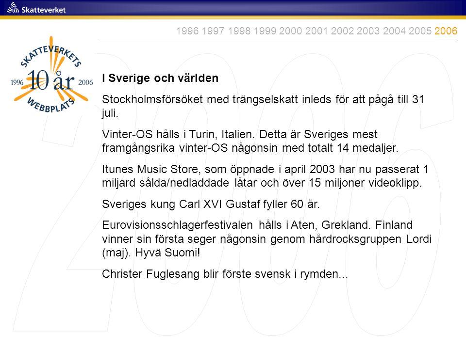 1996 1997 1998 1999 2000 2001 2002 2003 2004 2005 2006 2006. I Sverige och världen.