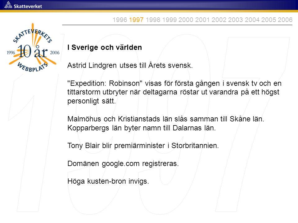 1997 I Sverige och världen Astrid Lindgren utses till Årets svensk.