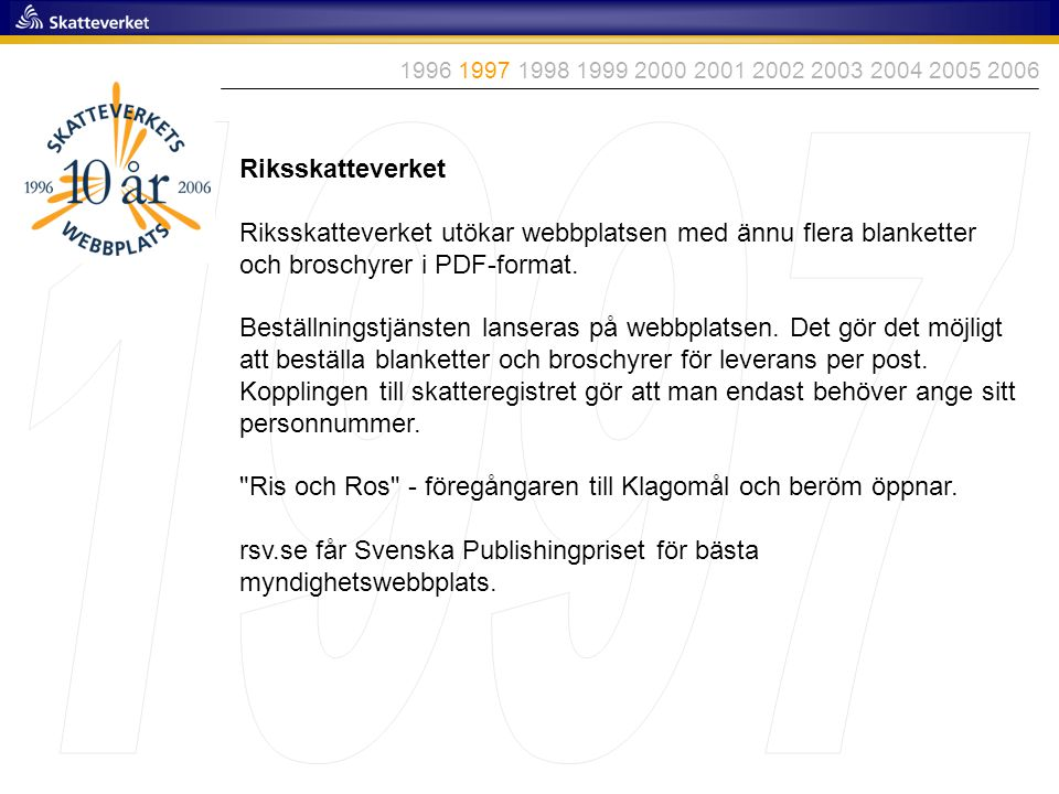 1996 1997 1998 1999 2000 2001 2002 2003 2004 2005 2006 1997. Riksskatteverket.