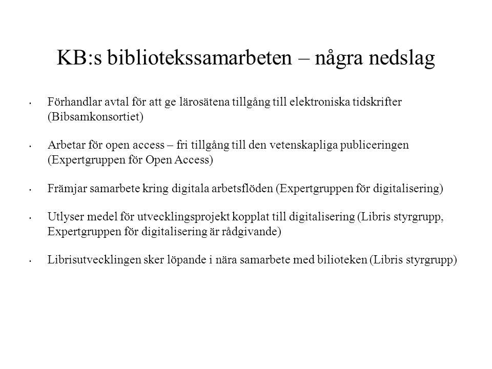 KB:s bibliotekssamarbeten – några nedslag