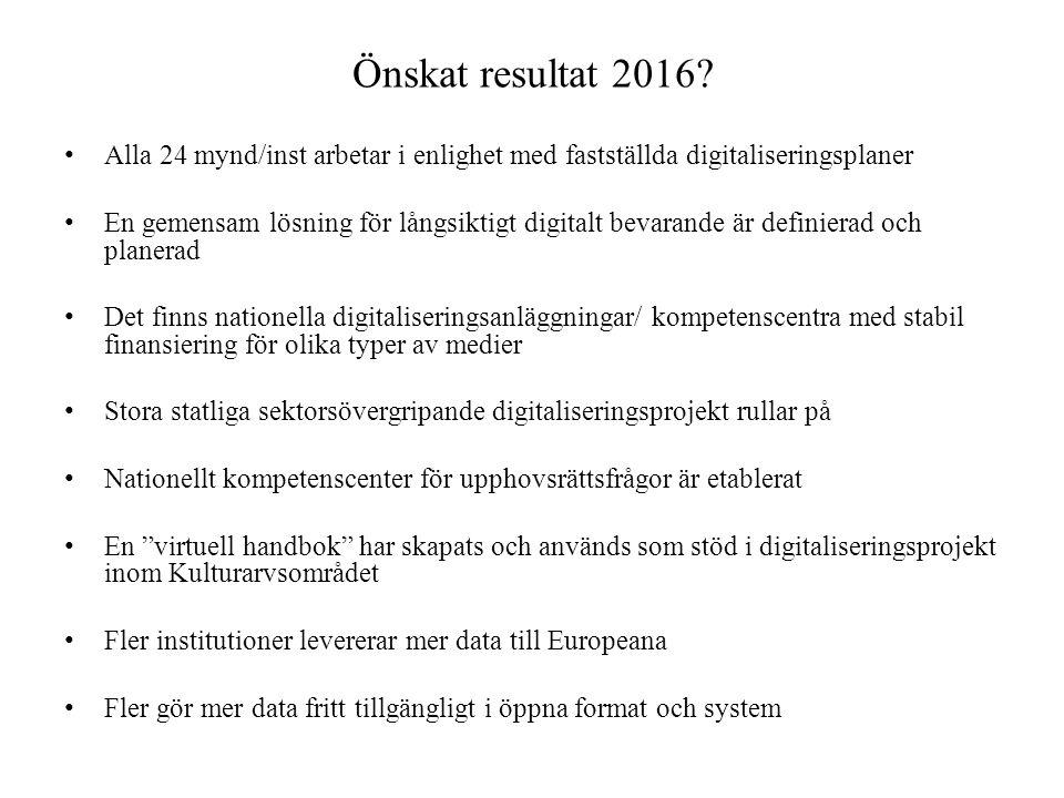 Önskat resultat 2016 Alla 24 mynd/inst arbetar i enlighet med fastställda digitaliseringsplaner.