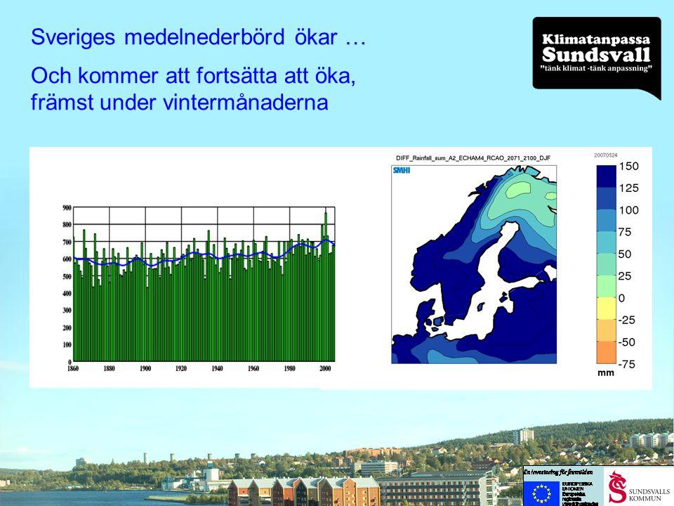 Sveriges medelnederbörd ökar …