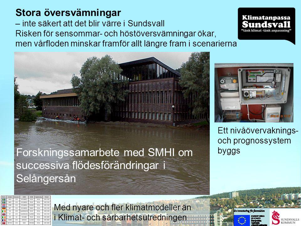 Stora översvämningar – inte säkert att det blir värre i Sundsvall Risken för sensommar- och höstöversvämningar ökar, men vårfloden minskar framför allt längre fram i scenarierna