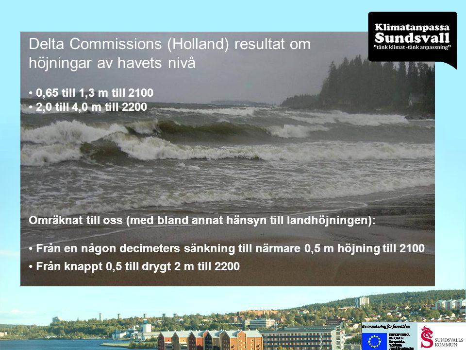 Delta Commissions (Holland) resultat om höjningar av havets nivå