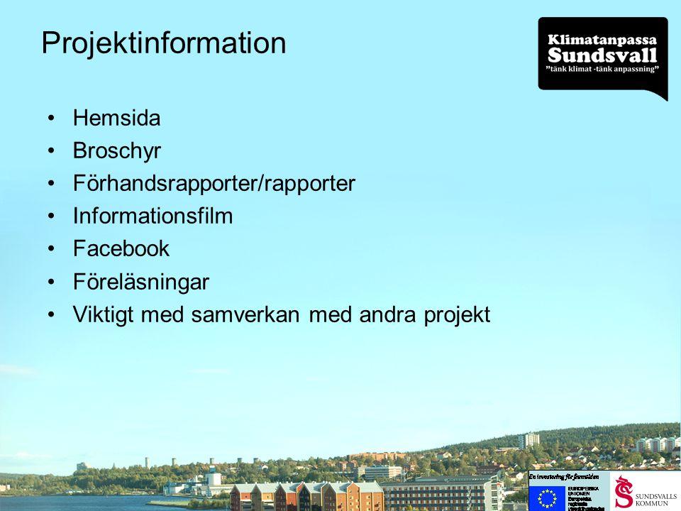 Projektinformation Hemsida Broschyr Förhandsrapporter/rapporter