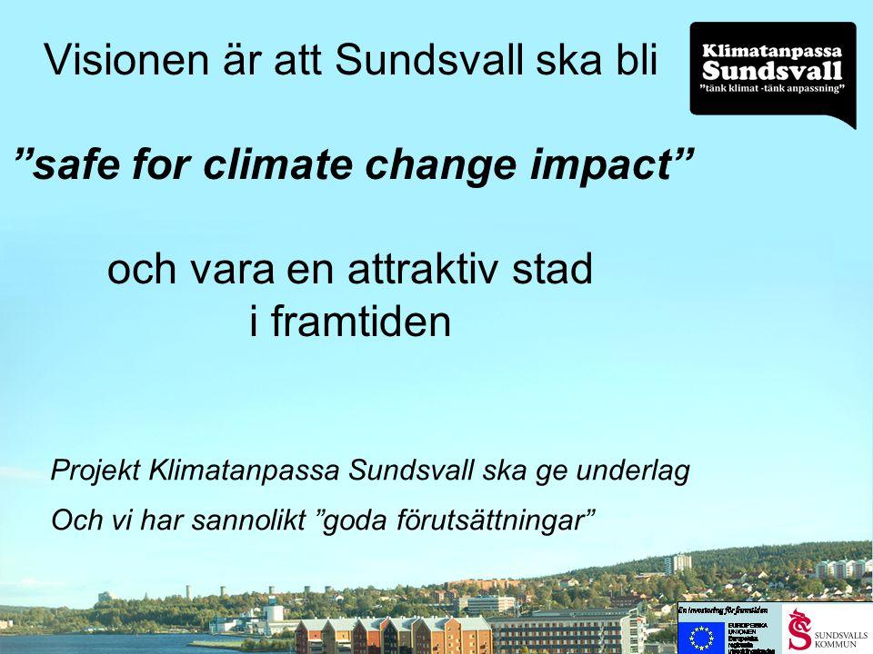 Visionen är att Sundsvall ska bli safe for climate change impact och vara en attraktiv stad i framtiden