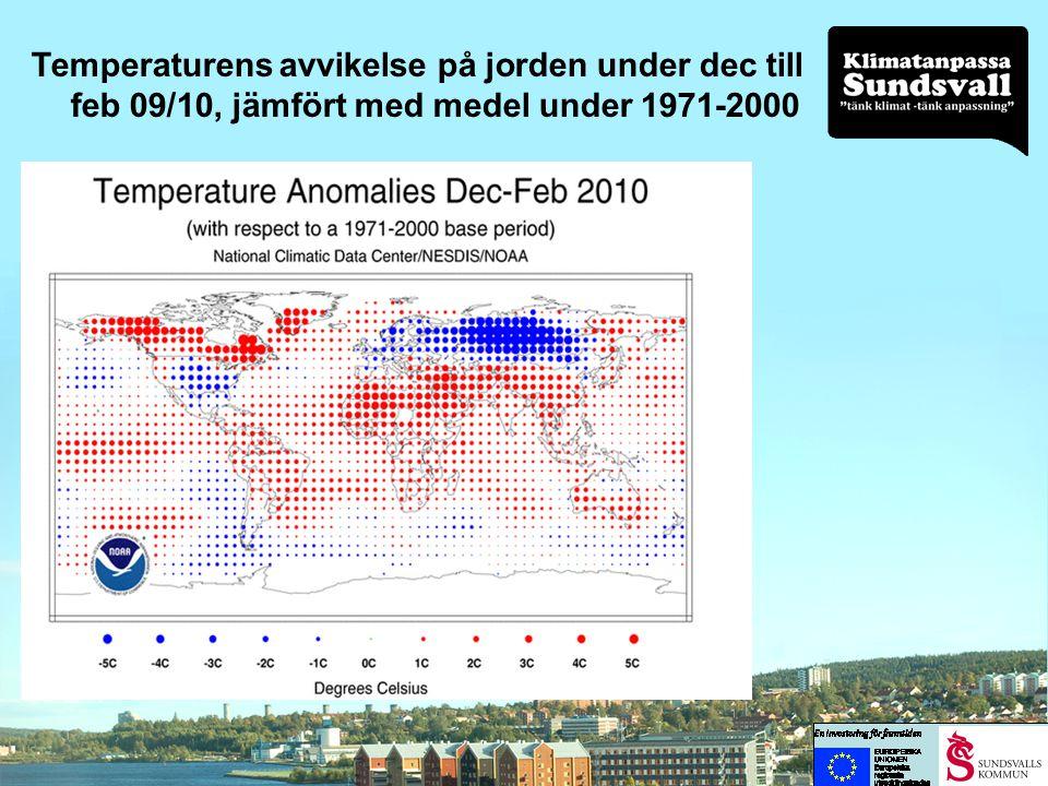 Temperaturens avvikelse på jorden under dec till feb 09/10, jämfört med medel under 1971-2000