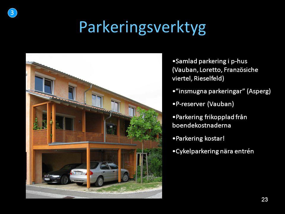 3 Parkeringsverktyg. Samlad parkering i p-hus (Vauban, Loretto, Französiche viertel, Rieselfeld) insmugna parkeringar (Asperg)