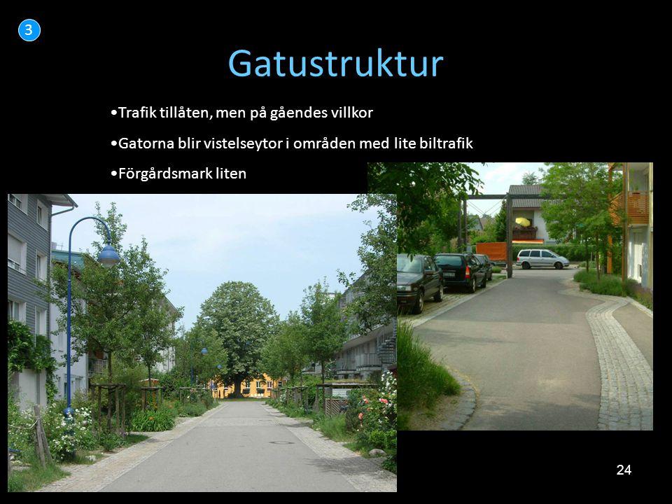 Gatustruktur 3 Trafik tillåten, men på gåendes villkor