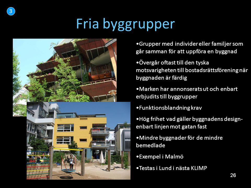 3 Fria byggrupper. Grupper med individer eller familjer som går samman för att uppföra en byggnad.