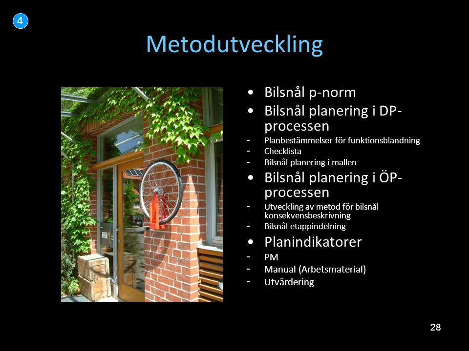 Metodutveckling Bilsnål p-norm Bilsnål planering i DP-processen