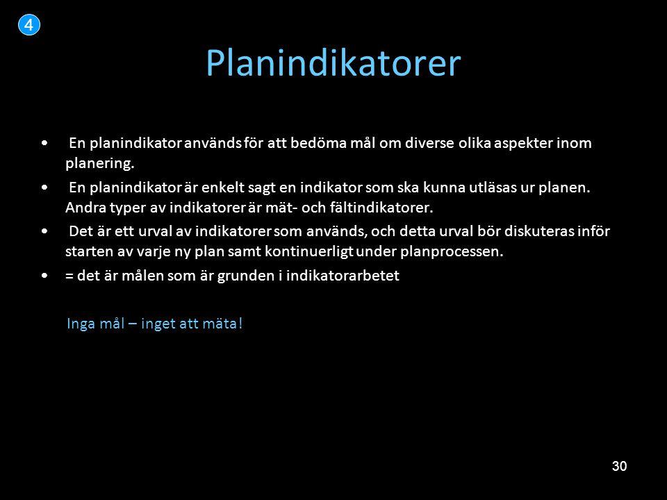 4 Planindikatorer. En planindikator används för att bedöma mål om diverse olika aspekter inom planering.