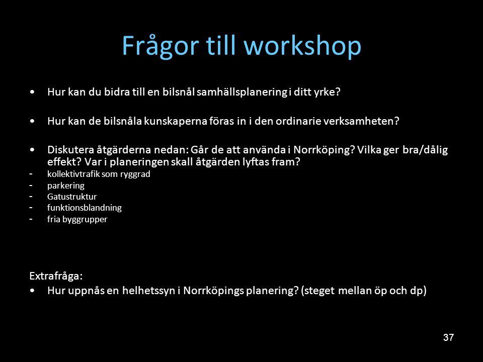 Frågor till workshop Hur kan du bidra till en bilsnål samhällsplanering i ditt yrke