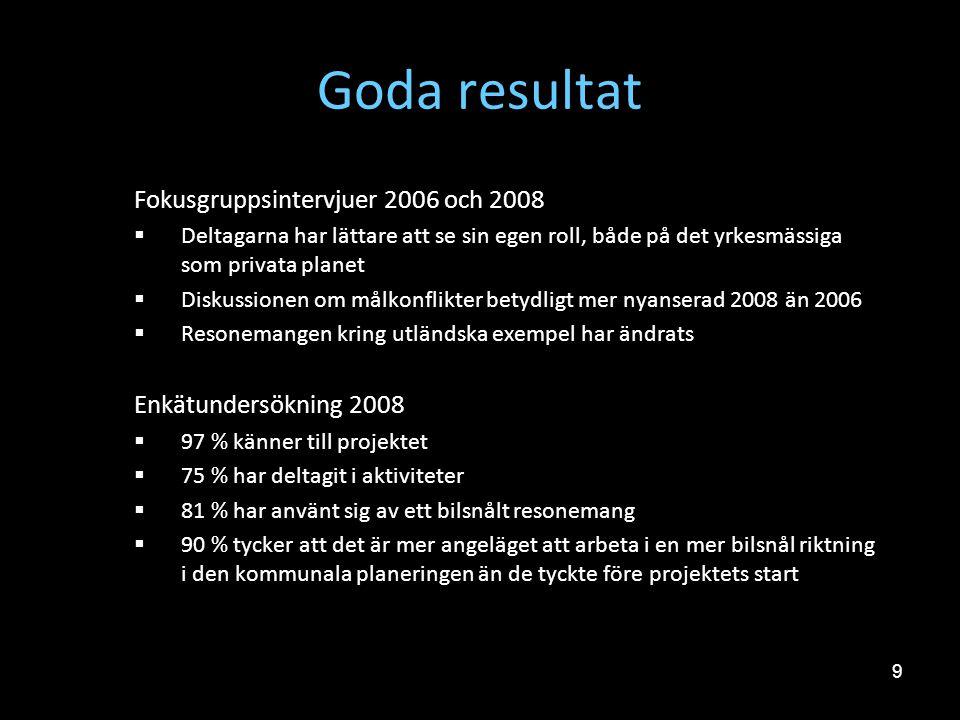 Goda resultat Fokusgruppsintervjuer 2006 och 2008