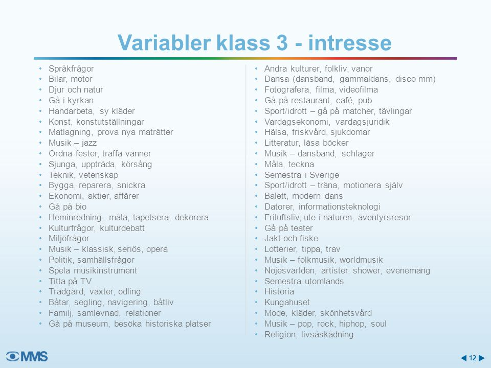 Variabler klass 3 - intresse