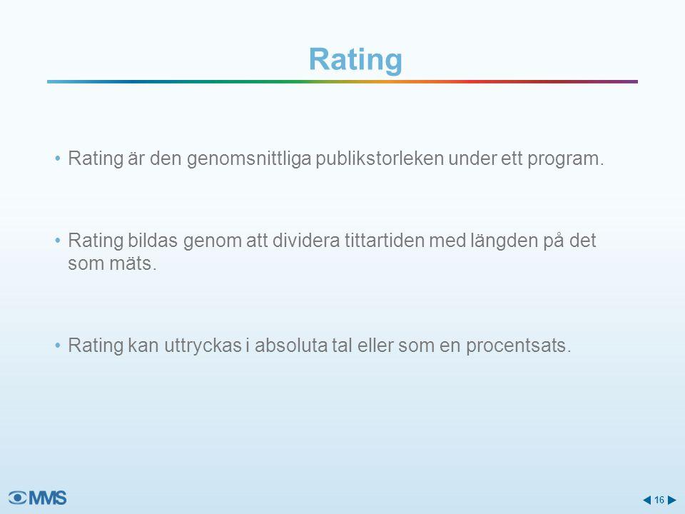 Rating Rating är den genomsnittliga publikstorleken under ett program.