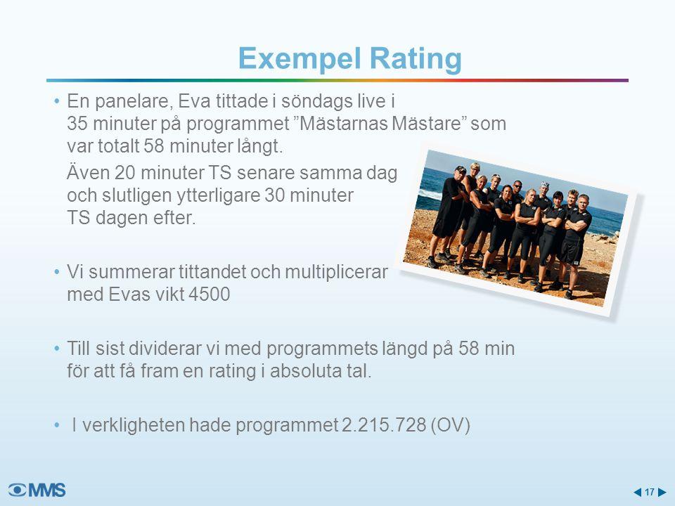 Exempel Rating En panelare, Eva tittade i söndags live i 35 minuter på programmet Mästarnas Mästare som var totalt 58 minuter långt.