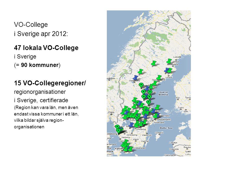 VO-College i Sverige apr 2012: 47 lokala VO-College