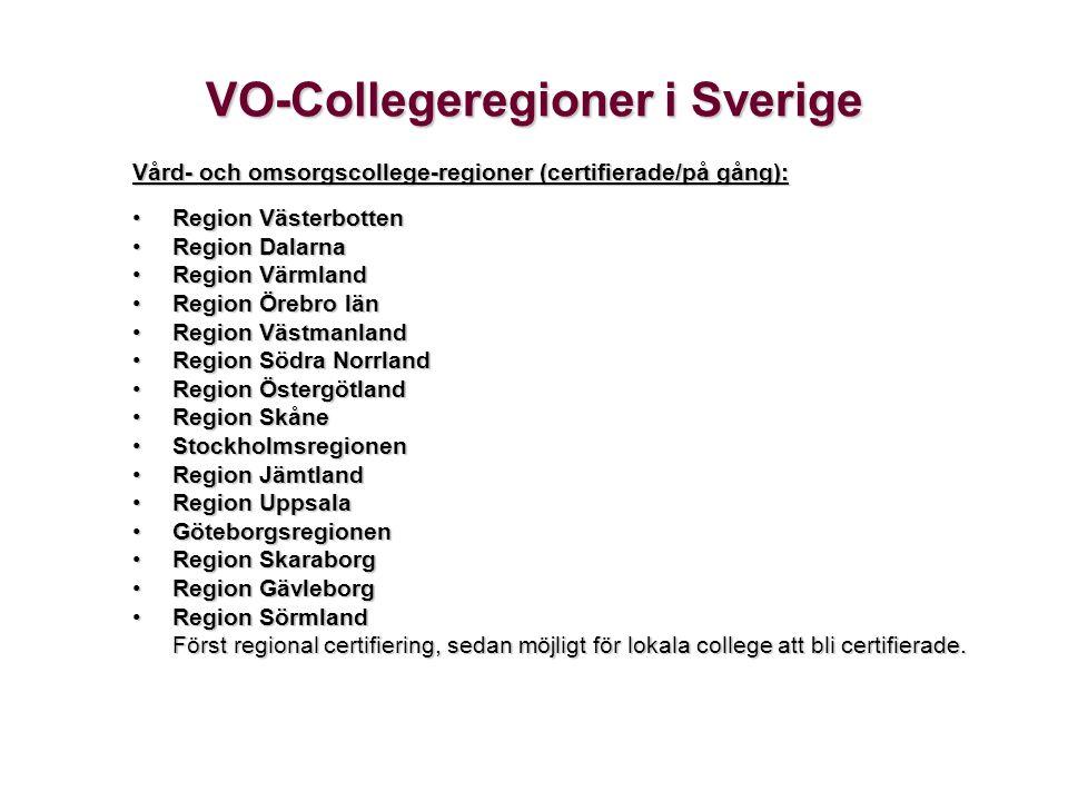 VO-Collegeregioner i Sverige