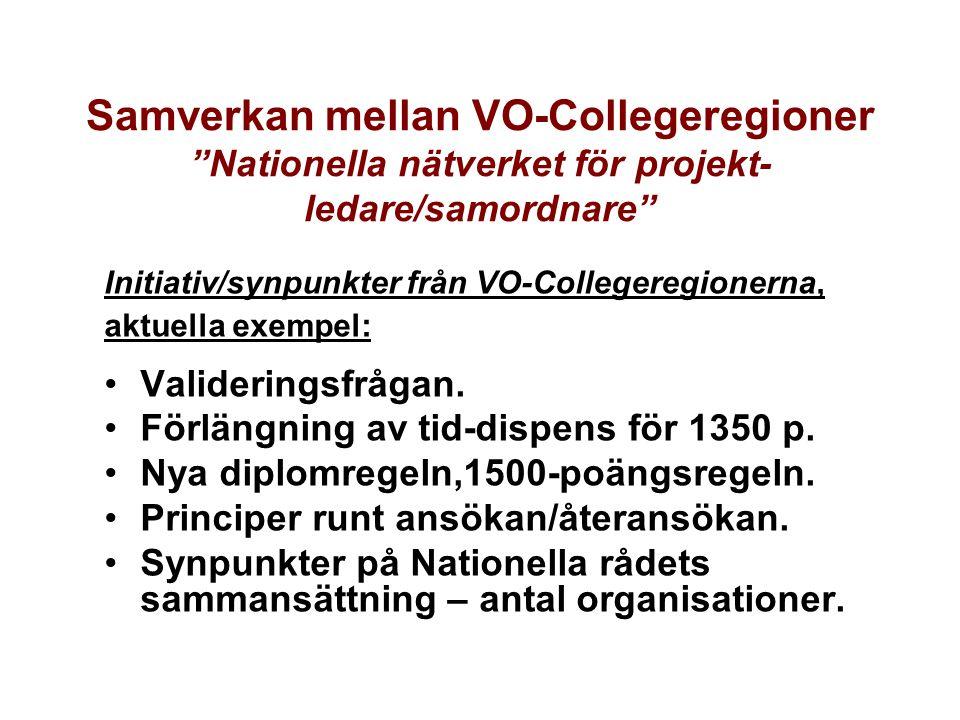 Samverkan mellan VO-Collegeregioner Nationella nätverket för projekt- ledare/samordnare
