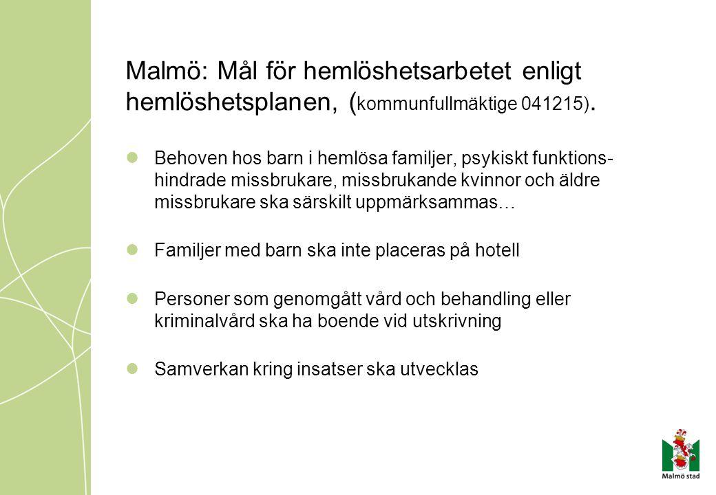 Malmö: Mål för hemlöshetsarbetet enligt hemlöshetsplanen, (kommunfullmäktige 041215).