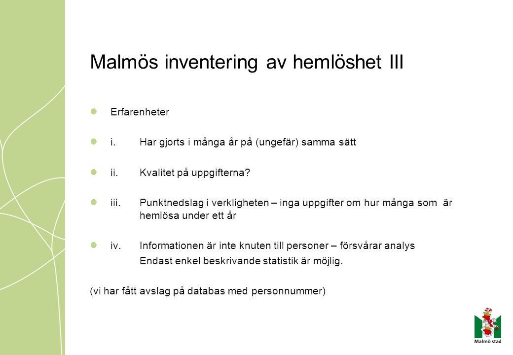 Malmös inventering av hemlöshet III