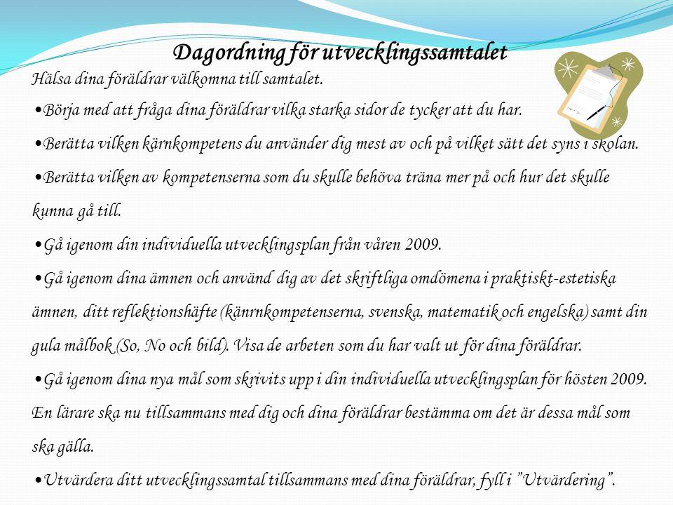 Dagordning för utvecklingssamtalet