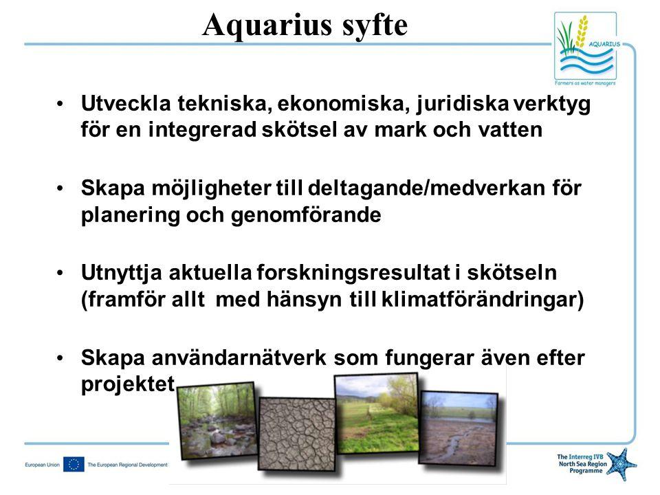 Aquarius syfte Utveckla tekniska, ekonomiska, juridiska verktyg för en integrerad skötsel av mark och vatten.