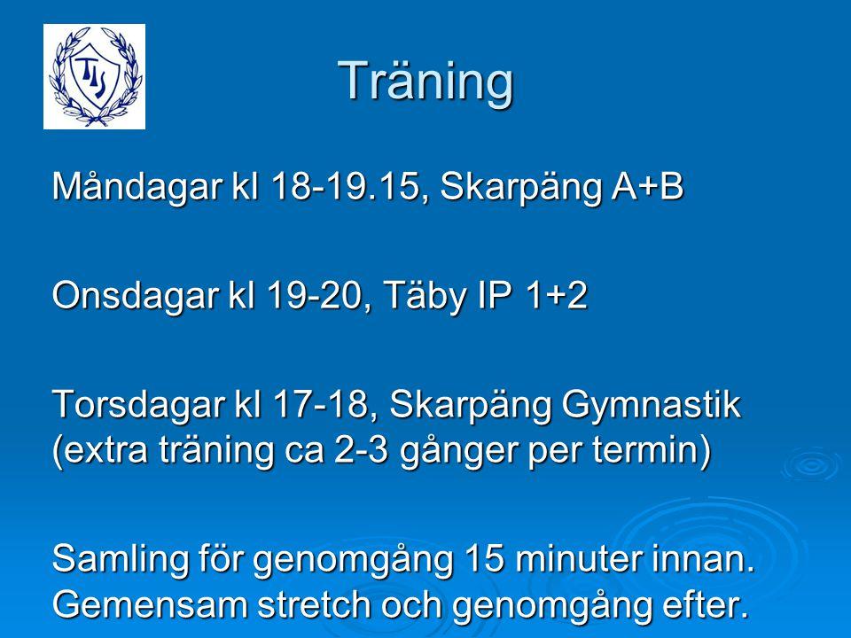 Träning Måndagar kl 18-19.15, Skarpäng A+B